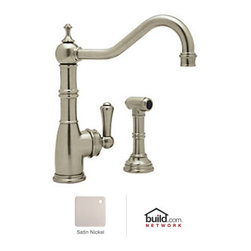 "Rohl - Rohl U.4746STN-2 Satin Nickel Perrin and Rowe Perrin and Rowe Low Lead - Perrin and Rowe Low Lead Kitchen Faucet with Side Spray and Metal Lever HandleRohl's Perrin & Rowe collection provides the opportunity to showcase the Victorian theme throughout the home. Design elements like ample scrolling and generously arced spouts define the Victorian theme, augmented by solid brass construction and a wide variety of finish options. Rohl's Perrin & Rowe collection features stylish and high-quality faucets for the kitchen and bathroom, allowing you to carry the theme from room to room.Rohl U.4746-2 Features:All brass faucet body construction - weight: 12 lbs.Hand-machined from solid brass stockIndustry leading, 1/4 turn lifetime ceramic disc valveSuperior finishing process – chemical, scratch, and stain resistantNumber of installation holes required: 2Spout swivels to allow for unobstructed sink accessInstalls onto decks up to 1-3/4"" thickInsulated brass side spray (not plastic)Metal lever handles includedOverall height: 11"" (measured from counter top to highest point of faucet)Spout height: 8-1/4"" (measured from counter top to faucet outlet)Spout reach: 9"" (measured from center of faucet base to center of faucet outlet)Low lead compliant – complies with federal and state regulations for lead contentDesigned for use with standard U.S. plumbing connectionsExtra secure mounting assemblyAll necessary mounting hardware includedFully covered under Rohl's limited lifetime warrantyManufactured in New Zealand, Western Europe, and/or North AmericaAbout Rohl:Excellence, durability, and beauty. Family values, integrity, and innovation. These are all terms which aptly describe Rohl and its remarkable selection of kitchen and bathroom faucets and fixtures. Since 1983, Rohl has maintained a commitment to providing high-quality plumbing products fo"