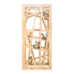 Shiner International - Shiner International Funky 45 x 16 Bookcase - This peice is exactly what its name suggest. A Funky Bookshelf This unit can do a lot. It can be used as a vertical or horizontal shelf unit that can be against the wall mounted on the wall or used as a room divider. The web design allows openness between spaces and comes with 9 hardwood shelves that can be placed wherever fits for your design. Shiner is a well thought out well built and well received line of home goods with a wide spectrum of product. Shiner is redefining the future by up-cycling the past through it unique approach to manufacturing and material sourcing. Modern Eco-Friendly Furnishings made in Florida USA Joe Manus remembers his first black eye. He was 7 he deserved it and he wore it like a badge of honor. Ever since the shiner has become his personal emblem for something tough dark and proudly damaged. Now Joe applies the manufacturing techniques and brutal aesthetic that earned his reputation for high-end boutiques and nightclubs in Atlanta to his first collection of modern eco-friendly furnishings. It's dirty sexy clever and dark. Of course he named it Shiner. What do they mean by eco-friendly? All materials are selected with environmental responsibility in mind. Steel is 85% recycled. Cardboard is 100% recycled. Plywood comes from responsibly farmed new growth timbers. Hardwoods come from drop cuts from board manufacturing that were destined for the landfill. All goods are cut using CNC technology which means maximum yield because of close nesting of parts on a panel low labor overhead and low energy equation overall. All leftover materials from cut panels go to fuel the timber kiln that dries their hardwoods or to be used in the production of biodiesel. All products are made in the USA. Specifications Material: Plywood and metal.