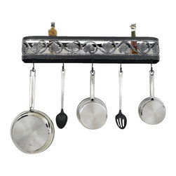 Hi-Lite MFG - Sandra Lee Wall Rack in Black Leather Finish - Includes four pot rack hooks. Accessories not included. Made from steel. Accent silver. 24 in. L x 5 in. HHi-Lite achieved success through attention to detail and stubbornness to only manufacturer the highest quality product. Hi-Lite has built its reputation as a premier lighting manufacturer by using only the finest raw materials, inspirational designs, and unparalleled service. This allows us great flexibility with our designs as well as offering you the unique ability to have your custom designs brought to Light.