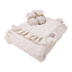 """Trend Lab - Luxe Gift Set - Cream Swirl Velour Blanket And Booties - Wrap your bundle of joy in soft luxury with Trend Lab's Cream Swirl Velour Ruffle Trimmed Receiving Blanket and Reversible Baby Bootie Luxe Gift Set. Blanket features two luscious layers of plush cream swirl velour surrounded by an elegant silky cream matte satin ruffle so you may cuddle your baby in warmth and touchable softness. Booties feature ultra warm swirl velour on one side and silky smooth matte satin on the other making these booties perfectly reversible. The cuddly cream swirl velour provides warmth and softness, while silky cream matte satin adds a touch of luxury. Pamper your little one with this high-fashion blanket and bootie gift set. Blanket measures 30"""" x 40"""". Booties are size 0-6 Months."""