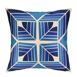 Trina Turk - Trina Turk Gridley Pillow-Blue - The Blue Gridley Pillow by Trina Turk is part of a line infused with bold signature prints and unique dynamic hues, Trina's modern and optimistic outlook meld the best of classic American design with a California confidence, incorporating beautiful fabrications and impeccable quality for the effortless elan and carefree glamour.