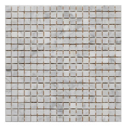 "Mission Stone Tile - 5/8"" x 5/8"" Marble Mosaic Tiles, Bianco Carrara Marble, Polished - Sold per Square Foot"