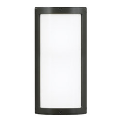 LBL Lighting - Omni Medium Outdoor Wall Sconce - Omni Medium outdoor wall sconce features an opal glass. Finish available in bronze or silver. Available in a small or medium size option. Also available with or without cover. Fixture available with incandescent or compact fluorescent lamping option. Two 60 watt, 120 volt, A19 medium base incandescent lamps or (1) 24 watt, 120 volt, T3 2G11 twin tube compact fluorescent lamp included. General light distribution. ETL listed. Suitable for wet locations. ADA compliant. 6W x 15.5H x 3 inch depth.