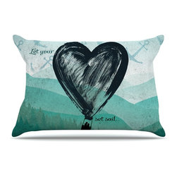 "Kess InHouse - Nick Atkinson ""Heart Set Sail"" Pillow Case, Standard (30"" x 20"") - This pillowcase, is just as bunny soft as the Kess InHouse duvet. It's made of microfiber velvety fleece. This machine washable fleece pillow case is the perfect accent to any duvet. Be your Bed's Curator."