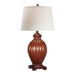 Lite Source - Table Lamp - Brushed Brown/Off-White Shade - Table Lamp - Brushed Brown/Off-White Shade