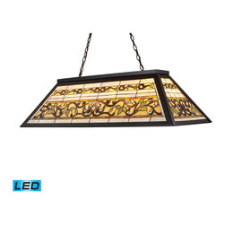Elk Lighting - Elk Lighting Tiffany Buckingham Billiard/Island with Tiffany Bronze X-DEL-4-3200 - The Tiffany Buckingham Collection Sports Our Popular Iron Hardware And Has A New Stained Glass Design For A Fashion-Forward Aesthetic. - LED, 800 Lumens (3200 Lumens Total) With Full Scale Dimming Range, 60 Watt (240 Watt Total)Equivalent , 120V Replaceable LED Bulb Included