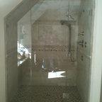 Frameless Glass Shower Enclosures - fully frameless shower enclosure, with angled ceiling
