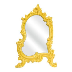 """IMAX - Frestina Vanity Mirror - In a bold canary baroque style frame, the Frestina vanity mirror adds a vintage style to any space. Item Dimensions: (22""""h x 12""""w x 15"""")"""