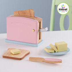 Kidkraft - Kids Pastel Toaster Set - Children often want to help their parents in the kitchen. With our new Pastel Toaster Set your young helpers will be able to take care of the toast all on their own! The bright colors and rich details of this wooden 9-piece set are sure to keep imaginations running wild, Toaster handle presses down, pops back up, Stick of butter, Butter is held together by Velcro and can be pulled apart easily.