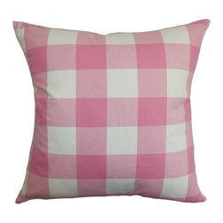 The Pillow Collection - Vedette Pink 18 x 18 Plaid Throw Pillow - - Pillows have hidden zippers for easy removal and cleaning  - Reversible pillow with same fabric on both sides  - Comes standard with a 5/95 feather blend pillow insert  - All four sides have a clean knife-edge finish  - Pillow insert is 19 x 19 to ensure a tight and generous fit  - Cover and insert made in the USA  - Spot clean and Dry cleaning recommended  - Fill Material: 5/95 down feather blend The Pillow Collection - P18-D-31874-NATURALBLUE-C100