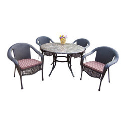 """Oakland Living - Oakland Living Stone Art 48"""" Elite Wicker 5-Piece Dining Set with Cushions - Oakland Living - Patio Dining Sets - 70007900499CF - About This Product:"""