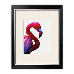 Flamingo Art Print - Archival print of a hot pink famingo. Digitally printed using fade resistant inks against the look of rough, cold pressed watercolor paper.