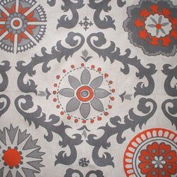 "Close to Custom Linens - 15"" Queen Bedskirt Tailored Rosa Orange Grey Beige Geometric - Rosa is a contemporary floral in grey and orange on a neutral beige linen-textured background"