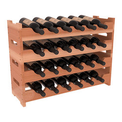 24 Bottle Mini Scalloped Wine Rack in Redwood with Satin Finish - Stack four 6 bottle racks for proper storage of 24 wine bottles. This rack requires light hardware for assembly and is ready to use as soon as it arrives. Makes the perfect gift and stores wine on any flat surface.