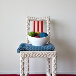 EcoFirstart.com - Eco-friendly fiber art and crochet home decor by Knits for Life. Upcycled furniture crocheted in recycled yarn from reclaimed fabric remnants. Use this as a fun white accent chair for your home office, mixed dining set, or bride and groom chairs. My ecological furniture uses yarn recycled from European fabric remnants on low-impact French mills. Plus, for every hand made item you buy, I plant a tree with The Nature Conservancy.