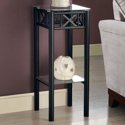 Monarch - Black Metal Plant Stand With A Tempered Glass Top - With its classy glass top, this plant stand gives a warm feel to any room. Its original black metal base provides study support as well as an elegant look. Use this multi- functional table to place your favorite plant, or decorative piece. It will be a sure eye catcher!