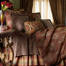"""Odyssey"" Bed Linens  - Odyssey linens will keep you warm this winter in rich colors and patterns.  Plaid bed skirt and shams combine with a rich paisley coverlet."