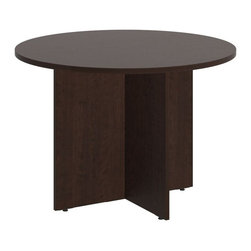 "Bush - Bush 300 Series 42"" Round Conference Table in Mocha Cherry - Bush - Conference Tables - 99TB42RMR - Elegant and classic the BBF 42"" Round Conference Table takes collaborative sophistication to a new level. With eye-catching appeal and timeless styling the compact footprint is perfect for conference rooms private offices or open spaces. Offers executive-level luxury at a modest cost. Finished underside prevents snagged clothing. Wide square top allows teams to congregate but is still small enough for most offices. Wood leg base with stable cross-member support system includes a leveling guide for uneven floors. Continuous edge banding protects against nicks and dings from collisions. Durable Dia mond Coat finish resists stains and scratches. Complete with all connectors and mounting plates for installation. Includes BBF limited lifetime warranty."