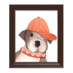 Doodlefish - Benny Bulldog - Benny the bulldog is sporting a stylish orange cap and collar. He is part of our series of four pooch portraits. The artwork is a framed 11x14 - finished size 15x18. Click on More Images to see the choice of distressed frame and even add personalization. The set of four dogs includes Dennis Dalmatian, Storm Springer and Bently Beagle.