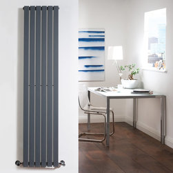 Hudson Reed - Anthracite Vertical Flat Panel Designer Radiator 63 x 14 With Valves - Six vertical panels, finished in superior anthracite powder coat (RAL7016), make this radiator a striking design feature of any contemporary living space. The vertical panels deliver an impressive heat output of 980 Watts (3345 BTUs).Stylish and effective, this modern classic connects directly into your domestic central heating system by means of the reliable radiator valves included.Anthracite Vertical Flat Panel Designer Radiator 63 x 14 Features  Dimensions (H x W x D): 63 (1600mm) x 14 (354mm) x 2.15 (55mm) Output: 980 Watts (3345 BTUs) Pipe centres with valves: 17 (430mm) Number of panels: 6 Fixing Pack Included (see image above) Designed to be plumbed into your central heating system Suitable for bathroom, cloakroom, kitchen etc. Weight: 38.6 lbs (17.5kg) Please note: angled radiator valves included Please note: This Designer Radiator is supplied with vertical mounting brackets only, it cannot be fitted horizontally with the fixings included  Please Note: Our radiators are designed for forced circulation closed loop systems only. They are not compatible with open loop, gravity hot water or steam systems.
