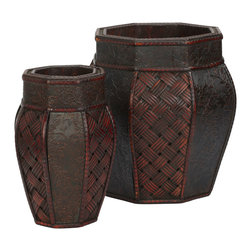 Nearly Natural - Design and Weave Panel Decorative Planters (Set of 2) - In a set of two, to allow pattern matching, yet in different sizes for different arrangements, our intricately designed vases are sure to please. Decorated with a rich collection of colors and raised patterns.  Enjoy the dark colored cross weave patterns next to the pressed floral design against a dark background. Each is separated by segmented trim and sure to delight admirers desiring a closer look.