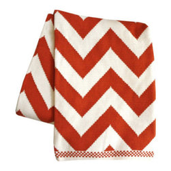 Chevron Knit Throw Blanket, Persimmon - This throw is for draping over the arm of the sofa and snuggling on cold nights.