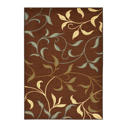 None - Chocolate Leaves Design Non-skid Area Rug (3'3 x 5') - Update your home decor with this stunning,machine-made,nylon area rug. This stylish rug features a contemporary floral design and a lovely color scheme.