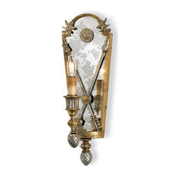 "Currey and Company - Currey and Company Napoli Traditional Wall Sconce X-8205 - This exquisite sconce is graced with arrow and acorn accents in gold leaf and vintage silver leaf finishes. It features a classically inspired ""Empire"" design. Wall sconces are sold as pin-ups which allows them to be either hard wired or plugged in. Comes with 8' of gold cord."