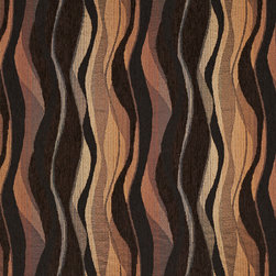Brown And Black Abstract Striped Chenille Upholstery Fabric By The Yard - This woven chenille is both soft and very durable! Most chenille fabrics are now made in China, but this one is still made in America! This fabric is great for all indoor upholstery.