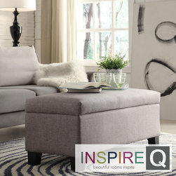 Inspire Q - Inspire Q Kayla Grey Linen Storage Bench Ottoman - This linen storage bench ottoman, suitable for use in any room, is the ideal place to keep items like extra blankets, books, or video game equipment. Featuring attractive gray upholstery and a cushioned lid, it also provides a comfortable place to sit.