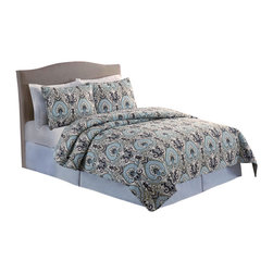 Pem America - Paisley Full / Queen Quilt with 2 Shams - Large paisley patterns in tan and aqua colors that reverse to a larger scale scroll pattern.  This pattern is machine stitched and filled with 80% cotton / 20% polyester fill for a nice weight and durability. Quilt set includes 1 full / queen quilt, 88x88 inches and 2 standard pillow shams, 20 x 26 inches. 100% microfiber polyester face and back with 80% cotton / 20% polyester filling. Machine washable.