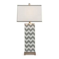 iMax - iMax Chandler Grey Chevron Lamp X-61313 - In a grey chevron pattern, this ceramic table lamp is a great lighting accessory to add modern style to any home.