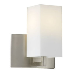 Philips Forecast Lighting - Avenue Wall Sconce by Philips Forecast Lighting - The Forecast Lighting Avenue Wall Sconce creates a luxurious atmosphere not unlike that of Park Avenue. Featuring an elegant etched white opal glass shade and satin nickel finish, this wall sconce pairs high fashion with contemporary minimalist design for a look that is both chic and understated.Dedicated to seeking customer feedback, Forecast Lighting has generated distinctive lighting designs that clearly stand out in a crowded marketplace. Founded in Southern California in the early 1970s as Forecast Lightolier, this unique lighting company has an in-house design team that travels the world to identify materials and trends that will ultimately result in extraordinary lighting for the home and office.The Forecast Lighting Avenue Wall Sconce is available with the following:Details:Rectangular Etched White Opal glass shadeMetal frameSatin Nickel finishWall plateLighting: One 75 Watt 120 Volt Medium Base Incandescent lamp (not included).Shipping:This item usually ships within 3-5 days.