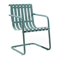 Crosley - Gracie Retro Spring Chair in Caribbean Blue - Dimensions:  31 x 24 x 11 inches
