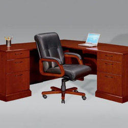 """DMi - Belmont Right Executive """"L"""" Desk with 6 Drawers - The adaptable Brown Cherry finish found on the Belmont 7132 Collection is capable of finding a home within any office setting. Transitional styling enhanced by elegant details such as inlaid cherry veneer tops bordered by walnut banding and finished with a protective Ultra-Violet topcoat; semi-matte, Black metal hardware; and double beaded crown mouldings make this collection an exceptional solution for any office environment. Features: -Material: Hardwoods.-Consists of a left single pedestal desk and a right single pedestal return.-Drawers are suspended on full extension, metal ball-bearing slides.-File drawers accommodate letter and/or legal sized hanging files.-Desk and return a felt-lined box/box/file drawer pedestal, locking pedestal.-Drawers: Solid wood, five sided dovetail construction with 3-ply veneer bottoms.-Durable UV finish resistant to stains, mars and scratches.-Belmont collection.-Distressed: No.-Collection: Belmont.Dimensions: -Single pedestal desk: 30'' H x 72'' W x 36'' D.-Single pedestal return: 30'' H x 48'' W x 24'' D.-Dimensions: 30'' H x 72'' W x 84'' D.-Overall Product Weight: 453 lbs.Assembly: -Assembly required."""