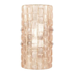842250-3ST Sconce Constructivism - Sconce of individually cast Sunset blush glass pillow-shaped pieces, fused at high temperature in a hand-laid cobblestone pattern. The individual lenses create a fascinating light diffuser & sculptural form. Exposed metal in hand-applied silver leaf.