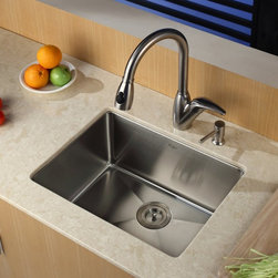 Kraus - Kraus KHU101-23-KPF2120-SD20 Single Basin Undermount Kitchen Sink with Faucet Mu - Shop for Kitchen from Hayneedle.com! Sleek style and innovative design makes the Kraus KHU101-23-KPF2120-SD20 Single Basin Undermount Kitchen Sink with Faucet the perfect addition to your kitchen set. The arching faucet operates smoothly with a single handle and can even rinse produce and dishes by transforming into a strong sprayer. It's all made from stainless steel to last for years against corrosion.Product SpecificationsBowl Depth (inches): 10Weight (pounds): 27Low Lead Compliant: YesEco Friendly: YesMade in the USA: YesHandle Style: LeverValve Type: Ceramic DiscFlow Rate (GPM): 2.2Spout Height (inches): 8Spout Reach (inches): 10About KrausWhen you shop Kraus you'll find a unique selection of designer pieces including vessel sinks and faucet combinations. Kraus incorporates its distinguished style with superior functionality and affordability while maintaining highest standards of quality in its vast product line. The designers at Kraus are continuously researching and exploring broader markets seeking new trends and styles. Additionally durability and reliability are vital components at Kraus for developing high-quality fixtures. Every model undergoes rigorous testing and inspection prior to distribution with customer satisfaction in mind. Step into the Kraus world of plumbing perfection. With supreme quality and unique designs you will reinvent how you see your bathroom decor. Let your imagination become reality!