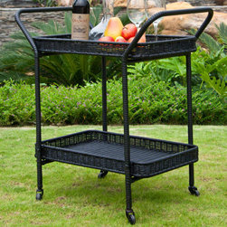 "Jeco - Outdoor Black Wicker Patio Serving Cart - ""With durable, all-weather resin wicker over a powder-coated steel frame, this serving cart is built to withstand anything life throws your way. Unlike real wicker which dries out and cracks, resin wicker is flexible and fade-resistant, which means it stays like new season after season. What's more, all-weather wicker doesn't absorb water and also allows for air flow, making it the perfect choice for the poolside! In addition, this chair is virtually maintenance-free and cleaning it is as simple as spraying it down with your garden hose or wiping it with a solution of mild dish soap and water. The serving cart makes serving your guests easier than ever with two convenient serving trays for extra storage."