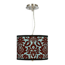 """Stacy Garcia - Traditional Stacy Garcia Kiwi Tini Florence 13 1/2"""" Pendant Chandelier - Get stylish with this drum shade pendant chandelier! It features a bold design from internationally renowned hospitality designer Stacy Garcia printed on high-quality canvas. Known for her use of color and pattern Stacy's exclusive line of shades makes a wonderfully colorful and unique design statement. A white acrylic diffuser at the bottom of the shade prevents glare. Includes extra cable and cord so you can vary the hanging height. Brushed steel finish. Exclusive Stacy Garcia giclee shade. 1/8"""" thick acrylic diffuser. Takes two 75 watt bulbs (not included). 32"""" pre-set hanging height. Maximum hanging height of 10 feet. Shade is 10"""" high and 13 1/2"""" wide. U.S. Patent # 7347593.  Brushed steel finish.   Exclusive Stacy Garcia giclee shade.   1/8"""" thick acrylic diffuser.   Takes two 75 watt bulbs (not included).   Maximum hanging height of 10 feet.  Shade is 10"""" high and 13 1/2"""" wide."""