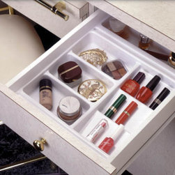 Rev-A-Shelf - Cosmetics Organizer for Bathroom/Vanity - I love drawer organizers for keeping bathroom gear organized.  Choose a finish, features and price point that works for your space.  This is just one affordable option.