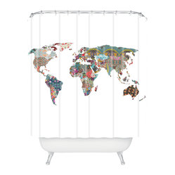 "Bianca Green Louis Armstrong Told Us So Shower Curtain - Do you sing in the shower? If so, Louis Armstrong's ""It's a Wonderful World"" — the inspiration behind this patchwork whimsy — is bound to be on your lips."