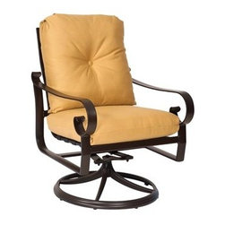 Woodard - Woodard Belden Cushion Dining Swivel Rocker - The Belden aluminum outdoor patio furniture collection completes the trio of Belden offerings from Woodard. As usual no apologies are necessary for this stunning collection of 24 items. Sharing its hand formed cast aluminum styling heritage with the Belden sling and Belden padded sling collection the Belden cushion collection is considered by some to be the pinnacle of Woodard's outdoor patio furniture products. Woodard's skilled artisans have outdone themselves in creating designer-class frame detail that soothes the eye while providing strength and durability.The Belden cushion aluminum outdoor patio furniture collection includes all the outdoor living outdoor patio furniture and dining furnishing options that you are considering for your home your retreat at the shore or your mountain chalet. The rust-resistant powder coated frame finishes can take whatever weather Mother Nature is in the mood to share and the cushions trims and chair ties are available in a wealth of attractive standard and designer fabric grades in solids stripes textures and patterns.The name Woodard Furniture has been synonymous with fine outdoor and patio furniture since the 1930s continuing the company�s furniture craftsmanship dating back over 140 years. Woodard began producing hand-made wrought iron furniture which led the company into cast and tubular aluminum furniture production over the years.� Most recently Woodard patio furniture launched its entry into the all-weather wicker furniture market with All Seasons which is expertly crafted and woven using synthetic wicker supported by an aluminum frame.� The company is widely known for durable beautiful designs that provide attractive and comfortable outdoor living environments.� Its hand-crafted technique used to create the intricate design patterns on its wrought iron furniture have been handed down from generation to generation -- a hallmark of quality unmatched in the furniture 