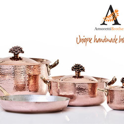 Artisan Handmade 7 Piece Cookware Set by Amoretti Brothers - 7 Piece copper cookware by Amoretti Brothers. Desiigned in Italy, hand forged by artisan in Mexico. Perfect gift and amazing addition to your kitchen. Cook AND serve in this cookware by Amoretti Brothers.