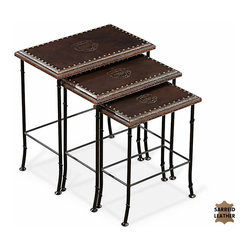 Sarreid Ltd - Nesting Tables - Why would you want plain, wood side tables when you could have embossed leather? And these nest! The elegant wrought-iron legs lend a note of delicacy to a very handsome set.