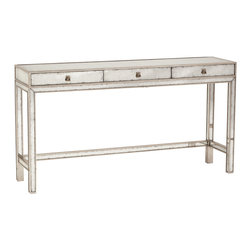 Kathy Kuo Home - Nixon Hollywood Regency Silver Leaf Mirror 3 Drawer Console Table - Like the great 'ice queens' of old Hollywood, pieces finished in silver and eglomise mirror bring a serene, cool beauty to any scene or setting.  This three drawer console does this and more - offering smart storage behind the silver finished drop handles.