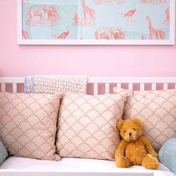 Pink and Blue Nursery Pillows - Add thoughtful, decorative touches to your nursery with custom throw pillows in pastel shades like pale blush pink and light powder blue. Trellis and deco scalloped dots are sweet and stylish. AS SEEN IN: Lonny