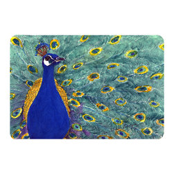 Caroline's Treasures - Bird - Peacock Kitchen or Bath Mat 24 x 36 - Kitchen or Bath Comfort Floor Mat This mat is 24 inch by 36 inch. Comfort Mat / Carpet / Rug that is Made and Printed in the USA. A foam cushion is attached to the bottom of the mat for comfort when standing. The mat has been permanently dyed for moderate traffic. Durable and fade resistant. The back of the mat is rubber backed to keep the mat from slipping on a smooth floor. Use pressure and water from garden hose or power washer to clean the mat. Vacuuming only with the hard wood floor setting, as to not pull up the knap of the felt. Avoid soap or cleaner that produces suds when cleaning. It will be difficult to get the suds out of the mat.