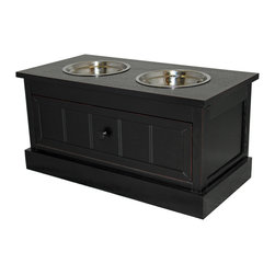 ecWorld - Malibu Solid Wood Pet Bowl Feeder With Storage Drawer - Espresso - Elevate the dining experience of a canine friend with our pet bowls and storage stand. Bring simple style and organization to a kitchen.