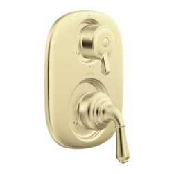 Moen - Moen T4110P Polished Brass Monticello Double Handle Moentrol Pressure - Double Handle Moentrol Pressure Balanced Valve Trim Only with Metal Lever HandlesHandle operates counterclockwise through a 270? arc with off at 6 oÂ'clock and maximum hot at the 9 oÂ'clock position. Shut off in clockwise directionAdjustable temperature limit stop to control maximum hot water temperaturePressure balancing mechanism maintains selected discharge temperature to   2-1222 cartridge designLifetime limited warranty against leaks, drips and finish defects to the original consumer purchaser5 year warranty if used in commercial installations