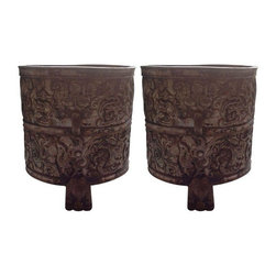 Pre-owned Xiong Chinese Decorative Cachpots - A Pair - Unusual and very pretty, these containers with their silver plated repousse work have gorgeous detail all around. They're the perfect pair for a bold entry way.